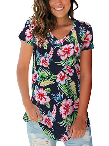 SAMPEEL Women's Basic V Neck Short Sleeve Floral T Shirts Summer Casual Tops