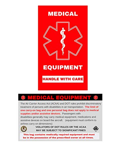 Medical Alert Equipment Luggage Tag - Handle with Care, DOT and ACAA regulations (MELT-112) Quantity (2)