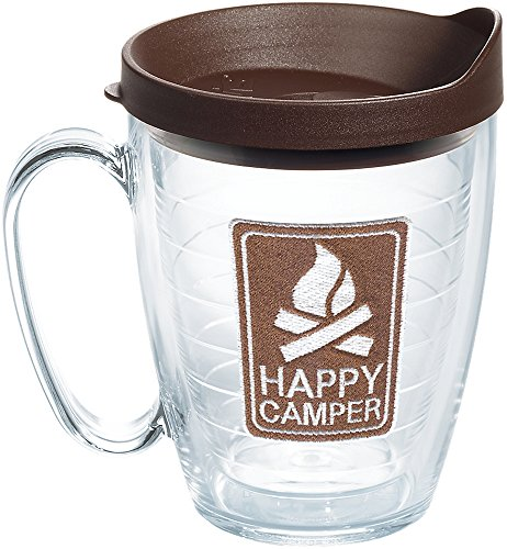 Tervis 1235478 Happy Camper Tumbler with Emblem and Brown Lid 16oz Mug, Clear