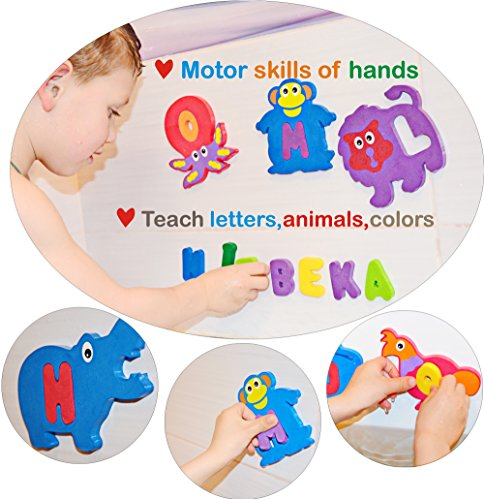 BABY LOOVI Educational Bath Toys for Toddlers – One of the Biggest Foam Baby Bath Toys-Alphabet 26 Puzzles Letters and Animals(52 items)-Premium and Bright Set-Safe Convenient and Easy for Kids