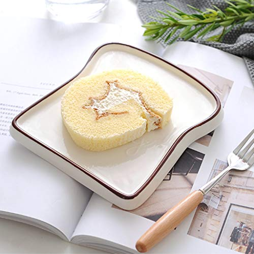 RXY-PLATE Breakfast Bread Tray Toast Shape Ceramic Pastry Plate Simple Japanese Tableware Cake Plate