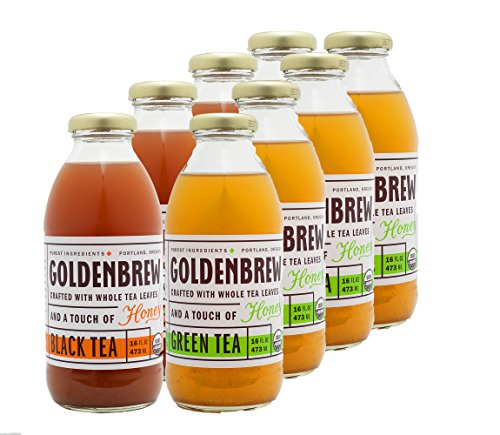 Apple Tea Green Vinegar Cider (Goldenbrew Tea Organic Tea Variety Pack, 4 Black Tea and 4 Green Tea, 8 Bottles)