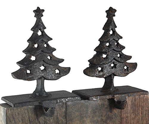 (Creative Co-op Christmas Trees Cast Iron Christmas Stocking Holder Set of 2)