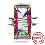 AYT 18ct Natural Rainbow Fire Mystic Topaz Ring Concave Emerald Cut Genuine 925 Solid Sterling Silver Best Gift For Women Mother