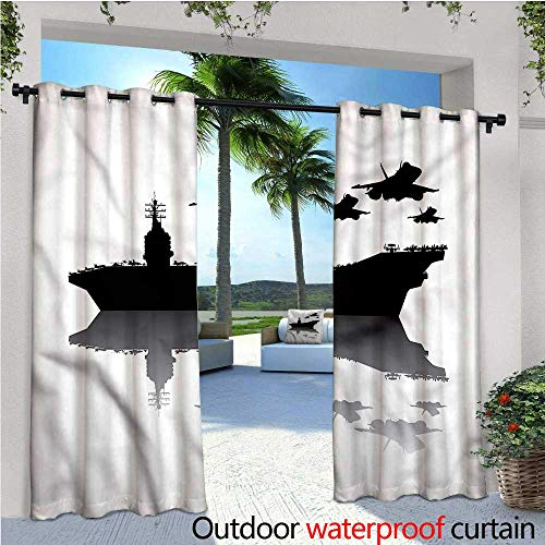 True Vertical Air Curtain - warmfamily US Navy Indoor/Outdoor Single Panel Print Window Curtain Aircraft Carrier Airplane Silver Grommet Top Drape W120 x L96