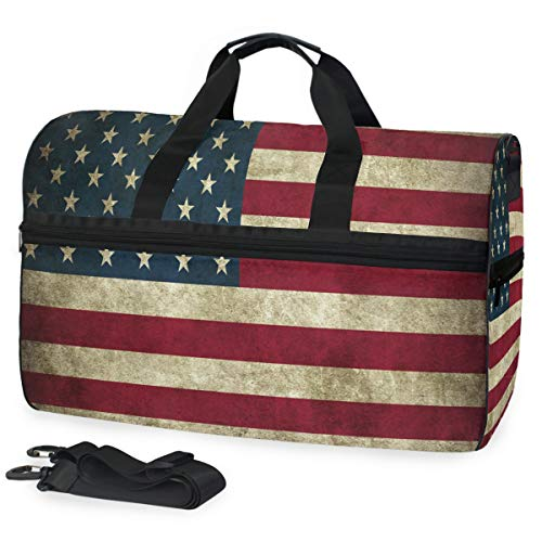 SLHFPX Old_American_Flag Gym Bags for Men&Women Duffel Bag Yoga Overnight Bag with Shoe Compartment