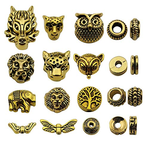 Youdiyla 64pcs Space Beads Charms Collection, Antique Gold Tone, Mix Gold European Spacer Loose Hole Metal Beads Craft Supplies Findings for Necklace and Bracelet Jewelry Making (HM247) ()