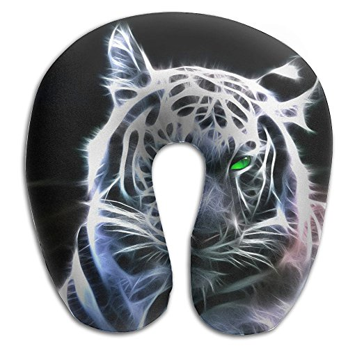 Laurel Neck Pillow Cool Tiger Black Background Travel U-Shaped Pillow Soft Memory Neck Support for Train Airplane Sleeping