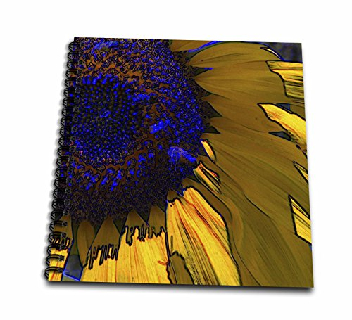 3dRose Corn Yellow and deep Blue Sunflower Flowers Designs Inspired by Nature-Drawing Book, 8 by 8