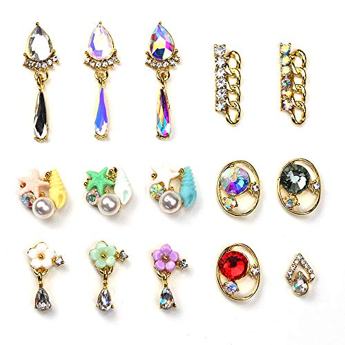 BlueZOO 15Pcs 3D Nail Art Decoration Rhinestone Crystal Gems Charms Jewelry Flower Pendant Chain Pearl DIY Phone Case Tips Tools