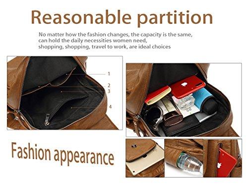 Pu Women Shoulder Soft HopeEye Leather Backpack for Cute Ladies Bags Tote Girls Brown xqZnTn