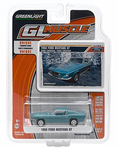 1968 FORD MUSTANG GT (Tahoe Turquoise) * GL Muscle Series 12 * Greenlight Collectibles 1:64 Scale 2015 Die-Cast Vehicle & Trading Card (1 12 Die Cast compare prices)
