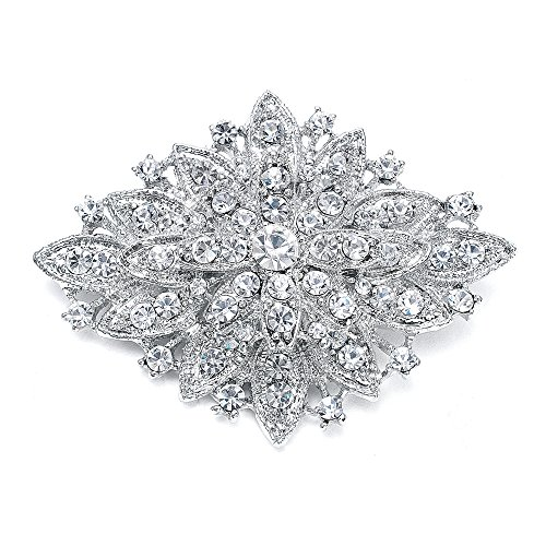 Crystal Faux Brooch - Mariell Vintage Wedding Crystal Bridal Brooch Pin - Stunning Art Deco Fashion - Platinum Plated