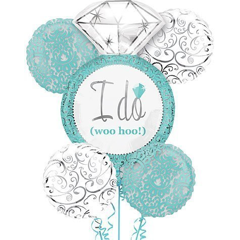 Robin's Egg Blue I DO Wedding Ring 5 Balloon Bouquet Kit - Bridal Shower