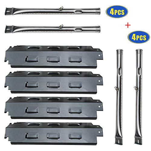 4 Pack Grill Heat Plates and Burners Replacement for Charbroil 463436813, 463434313, 463439915, 463335014, 463322613 Gas Barbecue Grill