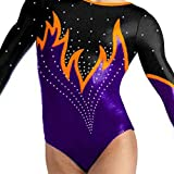 Demi Rhinestone Gymnastics Competition Leotard Long Sleeves TL037