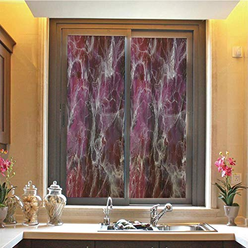 Marble 3D No Glue Static Decorative Privacy Window Films, Psychedelic Stylized Artistic Dark Colors Cloudy Onyx Stone Surface Print Decorative,17.7