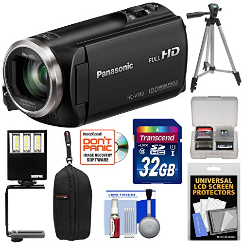 Panasonic HC-V180 HD Video Camera Camcorder with 32GB Card + Case + Tripod + LED Light + Kit by Panasonic