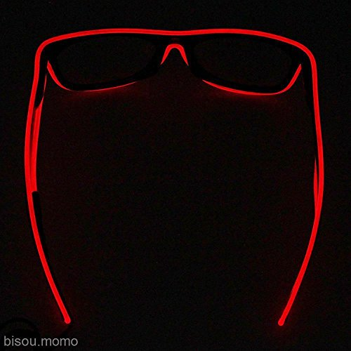 NPLE--LED EL Wire Glasses Light Up Glow Glasses Eyewear Shades for Nightclub Party (Red)