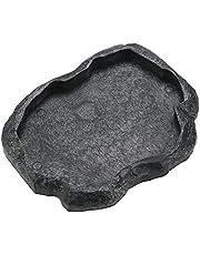 Reptile Food Water Dish Durable Reptile Rock Feeder Bowl Tortoise Lizard Resin Water Bowl Reptile Terrarium Food Dish (M-Green)