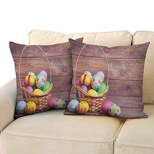 RenteriaDecor Easter,Kids Toddler Pillow Colorful Eggs with Flowers and Polka Dots in a Weave Basket on Wooden Rustic Pattern 18