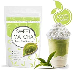 RLT Sweet Matcha (16oz) Green Tea Powder Mix- Made with 100% Organic Matcha - Perfect for Making Green Tea Latte or Frappe - 30 Servings