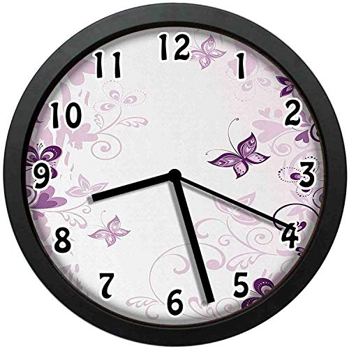 Illustration of Fairy Butterflies with Swirling Flowers Silhouette Floral Decor Art,Violet Wall Clock Nice for Gift or Office Home Unique Decorative Clock Wall Decor 10in with Frame (Silhouette Metal Art Wall Floral)