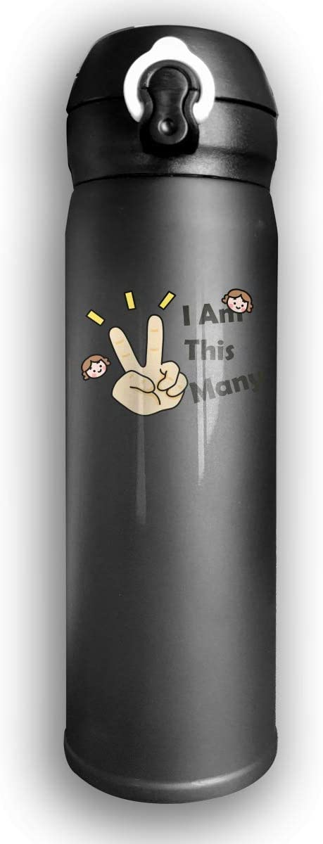 Tazas térmicas, Termo,Bounce Cover Designed I am This Many Two Years Old Birthday Victory Gesture,Leak-Proof Vaccum Cup,Travel Mug With Stainless Water Bottle,Sports Drinking Bottle Fashion