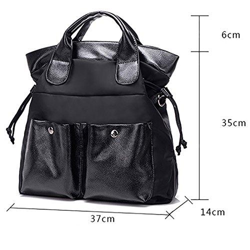YYW Leather Handbags, Borsa a zainetto donna nero Black