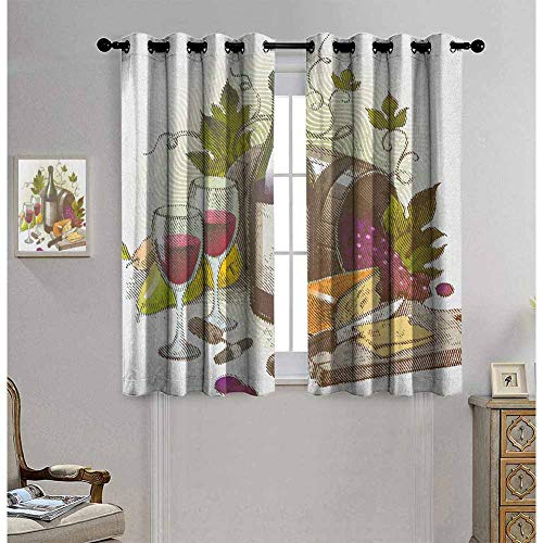 hengshu Wine Living Room Curtains 2 Panel Sets Vintage Style Composition with Wine and Cheese Fruits Gourmet Taste Beverage and Food Home Decor Blackout Curtains W72 x L62 Inch Multicolor from hengshu