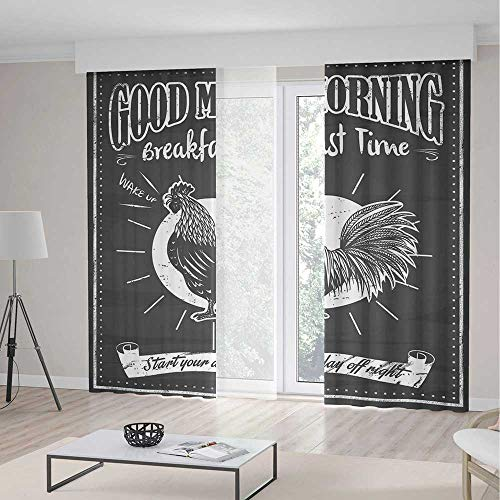 (YOLIYANA Window Curtains Kitchen Decor Chalkboard Kitchenware Menu Art Morning Rooster Retro Style Cafe Home Design Utensils)