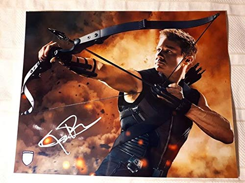 Jeremy Renner Signed / Autographed Avengers 11x14 Glossy Photo as Clint Barton / Hawkeye. Includes Official Pix Certification and Cataloged Number with COA. Entertainment Autograph Original. Avengers, Age of ultron, Thor, Civil war