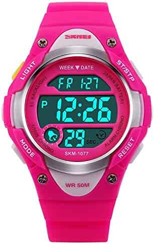 Children Watch Outdoor Sports Kids Girls LED Digital Alarm Waterproof Wristwatch Pink