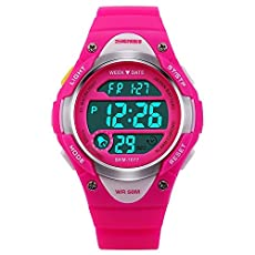 Children Watch Outdoor Sports Kids Girls LED Digital Alarm Waterproof Wristwatch Pink