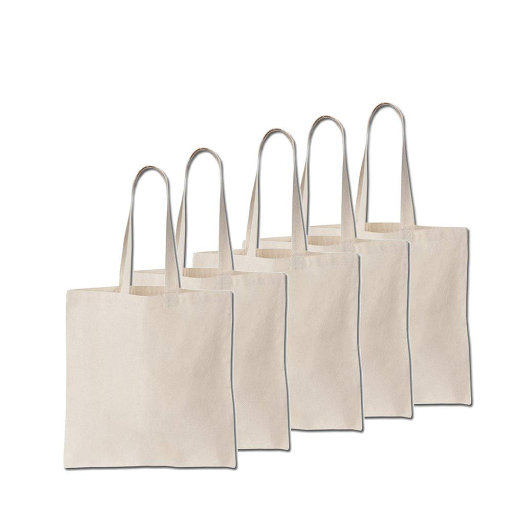 Gallity 5 Pack -15 X 16 inch Reusable Canvas Tote,Grocery Bags with Long Handle CottonNatural Canvas Tote Bags,Washable Bag Shopping Bag,Heavy Beach Tote,Eco Friendly Tote by Gallity Lights