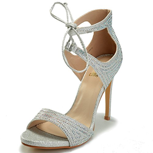 Alexis Leroy Women's Lace Up Stiletto Heel Wedding Sandals Silver 37 M EU / 6-6.5 B(M) US