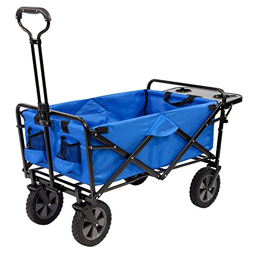 mac-sports-collapsible-folding-outdoor-utility-wagon-wagon-with-side-table-blue