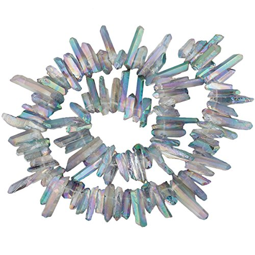 rockcloud Natural Rock Crystal Points Titanium Coated Clear Quartz Sticks Spikes Top Drilled 15 inch Strand,Deep Grey