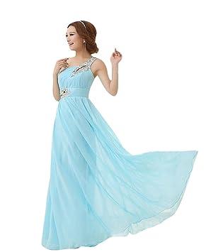 Missfox Maxi Vestido De Noche Un Hombro Corte Imperio Para Mujer L Cielo Azul