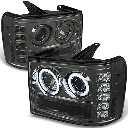 For GMC Sierra 1500/2500/3500 Pickup Truck Smoked Smoke CCFL Halo LED Projector Headlights Replacement (Gmc Sierra Halo Projector)