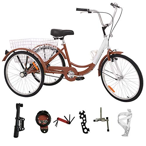 H&ZT Adult Tricycle Trike 3 Wheeled Cruiser Bike with Large Basket and Maintenance Tools, 24 Inch Wheel Size Bike Trike, Men's Women's Cruiser Bike (Brown, 7 Speed)