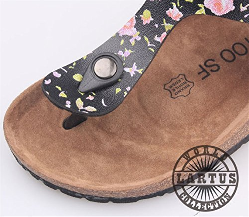 Leather Cork LIVEINU Footbed PU Women's Buckle Sandal Flat Strap T Black Sandals Casual Flops Thong Flip Slide gx4xOpInw