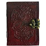 Leather Journal Diary Skull Embossed Vintage Antique Handmade Notebook Sketchpad Notepad Gift for Men Women Him Her 7X5 Inches Brown