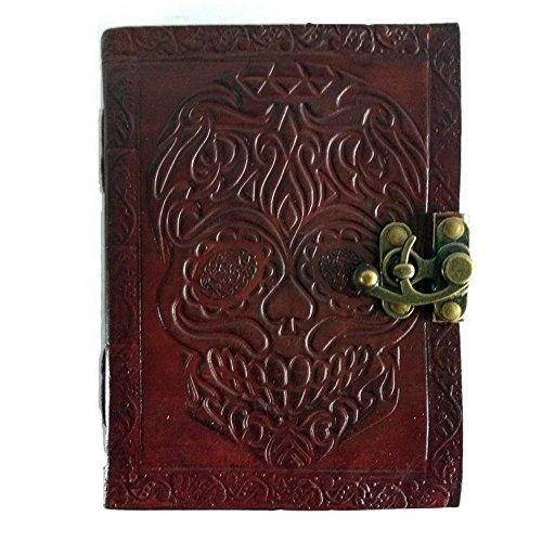 Leather Journal Diary Skull Embossed Vintage Antique Handmade Notebook Sketchpad Notepad Gift for Men Women Him Her 7X5 Inches Brown ()