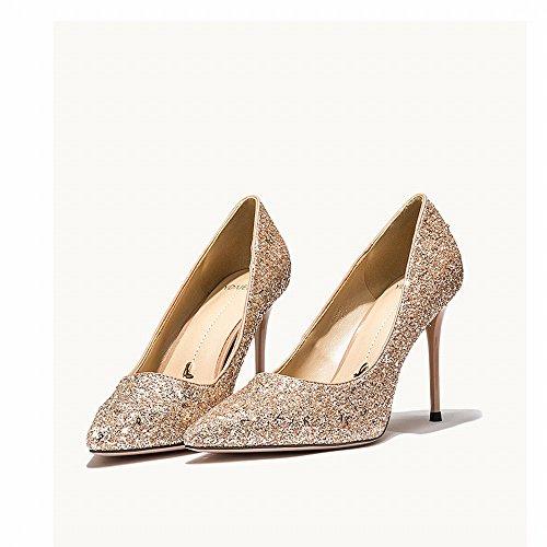 Zapatos de Banquete Altos 36 Occidentales con Zapatos Tacones de de Lentejuelas UN con Femenina Zapatos Primavera Novia Altos Salvaje DIDIDD xIpwd6qgp
