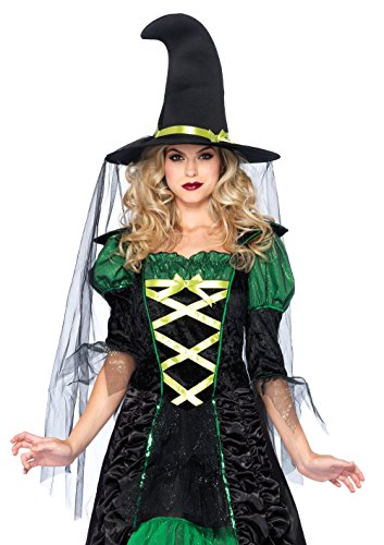 (Leg Avenue Women's 2 Piece Storybook Witch Costume, Black/Green, Small/Medium )