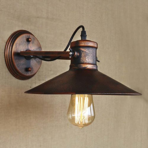 BAYCHEER HL421391 Industrial Retro Vintage style Mottled Copper 1 Light Small Indoor Barn Wall Sconce wall light lamp with Cage use E26/27 Bulb - Copper Wall Lamp