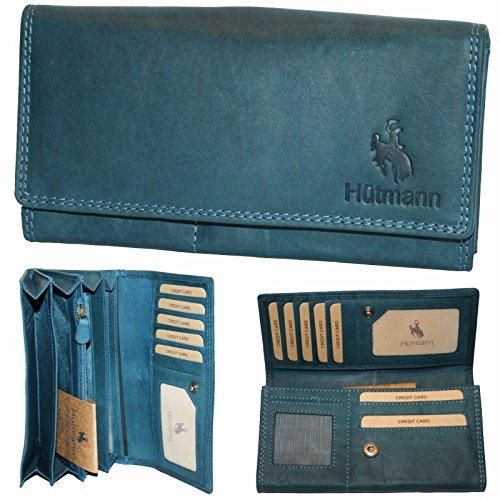 Neue XL Geldbörse Leder Damen Frauen Weihnachtsgeschenk Portemonnaie Geldbeutel Qualität Hütmann blau NEU EwCeNQk