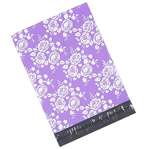 Metronic 100 10x13 Poly Mailers Envelopes Shipping Bags of Purple+White Rose Design with Self Adhesive, Waterproof and Tear-proof Postal Printed Bags by Metronic