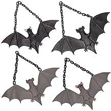 Prextex Halloween Décor Set of 4 Realistic Looking Spooky Rubber Hanging Bats for Best Halloween Decoration